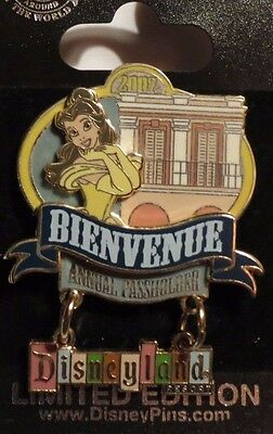 Disney Dlr Welcome Passholders 2007 Belle Beauty & The Beast Dangle Le 1000 Pin