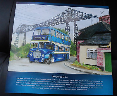 "LODEKKA ""TRANSPORTED LOLINE"" 30cm x 28cm VINTAGE BUS PICTURE MIDDLESBROUGH"