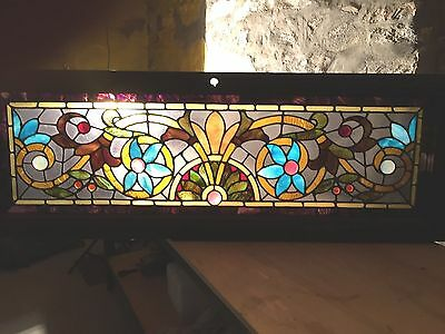 Antique American  Stained Glass Window Transom