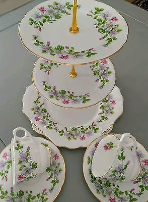 English Bone China Floral Tea Set for Two Cups & Saucers with Cake Stand