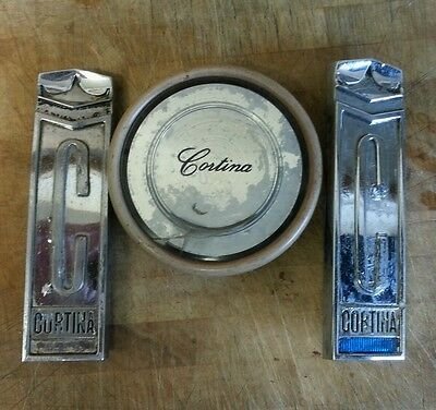3 Early Vintage Ford Cortina Classic Car Badges Emblem Mascot