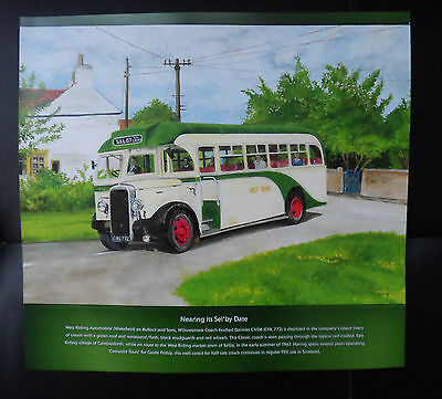 """DAIMLER """"NEARING ITS SEL'BY DATE"""" 30cm x 28cm VINTAGE COACH ART SELBY"""