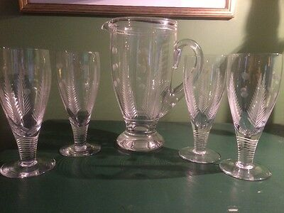 Stunning Stuart Crystal Jug And Glasses / Lemonade Set