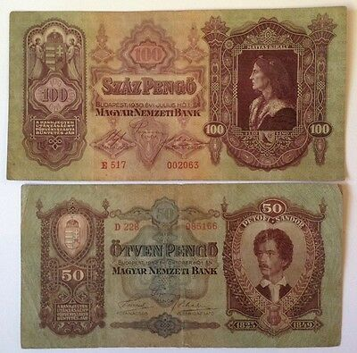 2 X Hungary Banknotes. 100 & 50 Pengo. Dated 1930 & 1932.