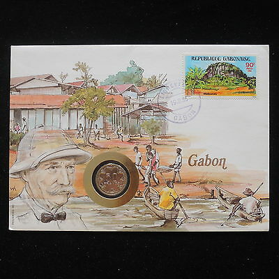 ZS-AA082 GABON - Numisbrief, 1985 Fdc, Folklore, Explorations Cover