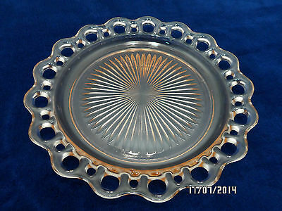 Anchor Hocking Pink Glass Dinner Plate Old Colony Open Lace Pattern