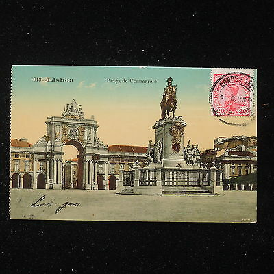 ZS-AA757 PORTUGAL - Postcard, 1910 To Milan, Lisbon Praca Do Commercio