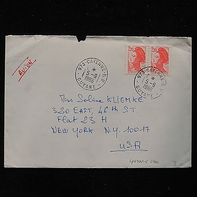 ZS-AB994 GUYANA - Airmail, 1986 From Cayenne To New York Usa Cover