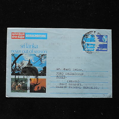 ZS-AC017 SRI LANKA - Airletter, 1976 To Oberkochen West Germany Cover