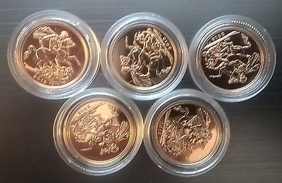 6 x 2013 22ct gold mint Full Sovereigns each encapsulated. Bulk investment.