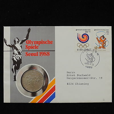 ZS-AC805 S. KOREA - Olympic Games, 1988 Fdc,Nummisbrief, To Chieming Cover