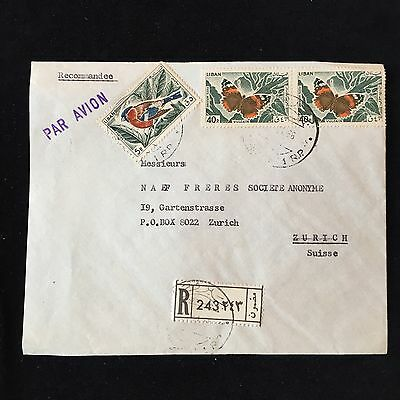 ZS-AC983 LEBANON IND - Butterflies, Airmail Registered To Switzerland Cover
