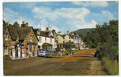 THE VILLAGE, LOCHEARNHEAD WITH OLD CARS AND FUEL PUMPS ~ AN OLD POSTCARD (o7)