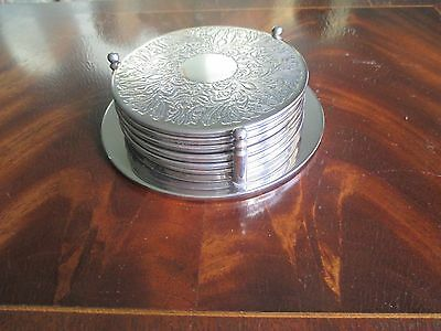 """Set of 6 Silver Plated Coasters with Holder Coasters Measure 3.5"""" Diameter"""