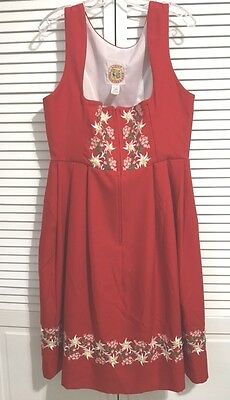 Licht Trachtenhaus Red Floral Dirndl Dress Size 16