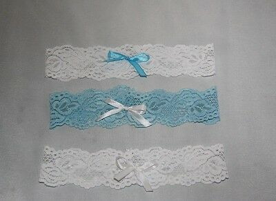 Handmade white-blue lace bridal garter / wedding / hens party