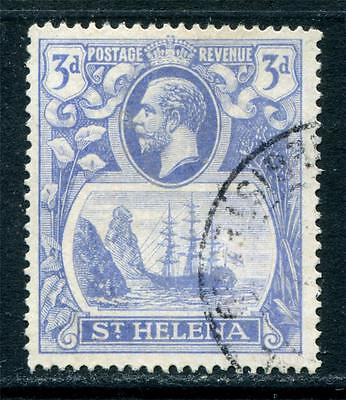 St Helena: 1923 George V 3d stamp - cleft in rock flaw SG101c Used T247