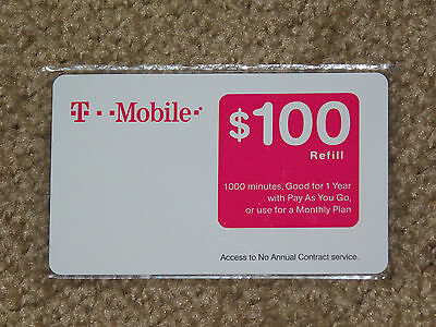TMOBILE $100 PREPAID REFILL CARD (New - Unscratched)