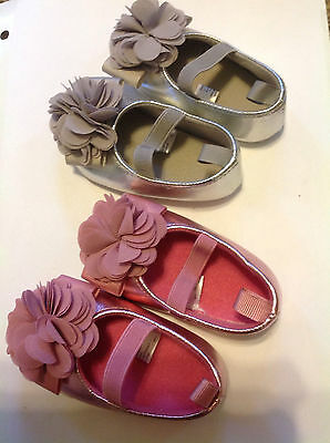2 pairs of new infant shoes, 3-6 mos, silver and pink