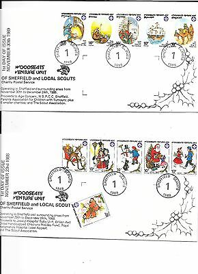 Scouting Postal Mail1988 & 89 Xmas Covers for Sheffield ScoutsFDI plus 75 stamps