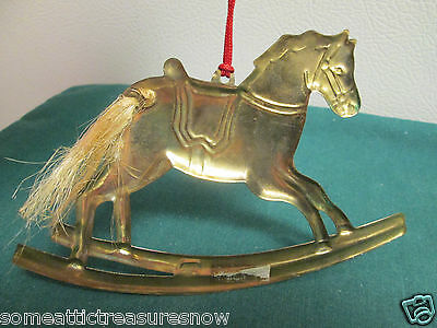 Rocking Horse Brass Hanging Christmas Ornament