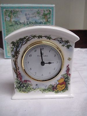 Boxed Royal Doulton Disney Winnie The Pooh China Mantle/Bedside Clock