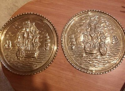 Matching Pair of Vintage Brass Wall Plaques