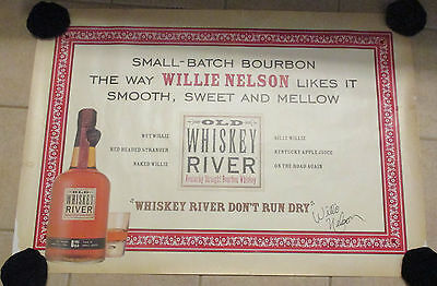 Vintage advertising poster Old Whiskey River Bourbon Willie Nelson Rare & Large