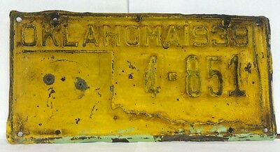 1938 OKLAHOMA State Outline License Plate for State Vehicles - Very Rare (4-851)
