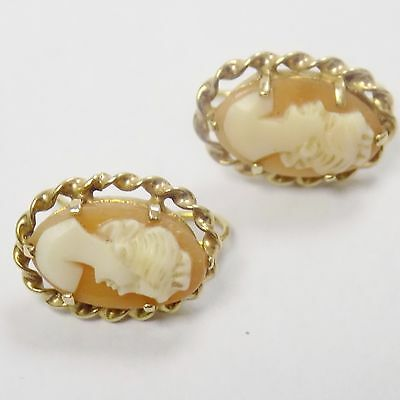 9ct Solid Yellow Gold Cameo Earrings Hallmarked Vintage Style