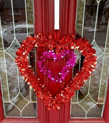 Valentines Day RED Heart Door Decor Wall Hanging Heart Wreath Swag FLORAL Gift