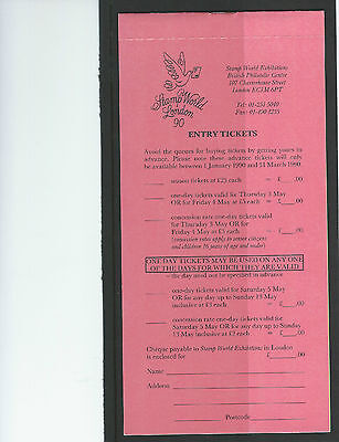 Stamp World Exhibition 1990 Ticket Book Mint Condition Unused Superb. See Scan.