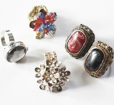 Vintage costume rings adjustable and elastic retro statement ring lot