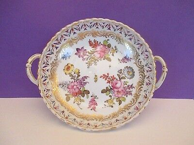 Dresden Hand Painted Reticulated Porcelain Bowl, Germany