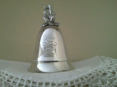 Silver Plated Kirk Steiff Musical Bell 1993 Plays Santa Claus Is Coming To Town