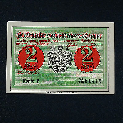 A WOW  Notgeld Weener, 2 Mark Schein german emergency money unc -selten RRRR-