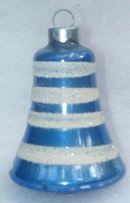 Vtg Coby Blue With White Glitter Stripes Mercury Glass Christmas Bell Ornament