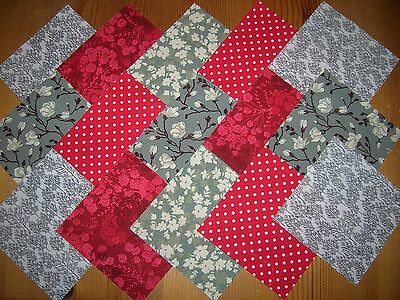 """50 x 4"""" CHARM PACK RED & GREY 100% COTTON PATCHWORK/QUILTING/CRAFTS  REG"""