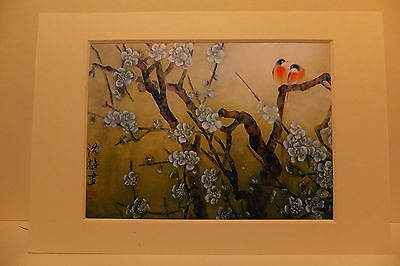Reprint Oriental Chinese Print Birds And White Blossom