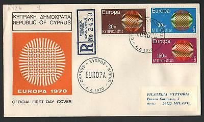 ZS-K072 CYPRUS-GREECE - Europa Cept, Official Fdc, 1970 Republic, To Italy Cover