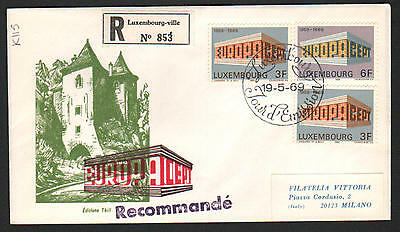 ZS-K115 LUXEMBOURG - Europa Cept, Fdc 1969 Regist. To Italy Cover