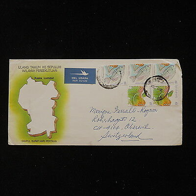 ZS-O036 FISH - Malaysia, Flowers, Great Franking To Switzerland Cover