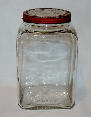 Vintage Nash's Toasted Coffee Square One Gallon Glass Jar w/ Red Lid