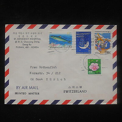 ZS-O749 S. KOREA - Cover, Fish, Flowers, Great Franking To Switzerland