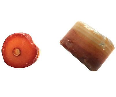 2 Ancient Yemen Ciagrette Butt Natural Banded & Blood Agate Carved Beads