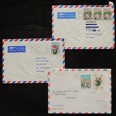 ZS-R324 ALGERIA IND - Flowers, Lot Of 3 Air Mail To Switzerland Covers