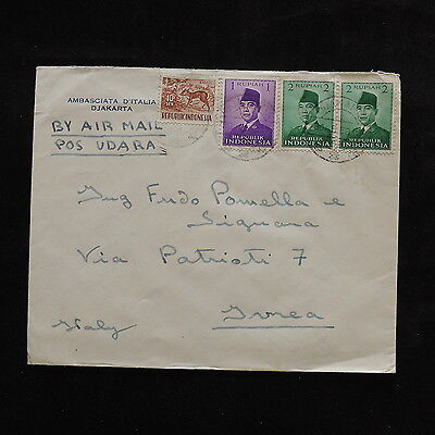 ZS-R468 INDONESIA - Wild Animals, 1958 Air Mail To Italy Cover