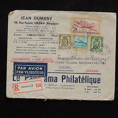 ZS-R523 BELGIUM - Aviation, Ships Coats Of Arms, 1946 Registered To Italy Cover