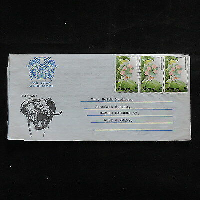 ZS-R561 FLOWERS - Kenya, Wild Animalss, 1985 Air Mail To Germany, Strip Cover