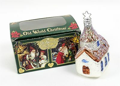 Old World Christmas Ornament Church Chapel Blown Glass With Box